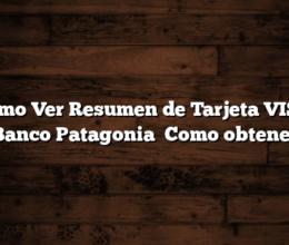 Como Ver Resumen de Tarjeta VISA Banco Patagonia   Como obtener