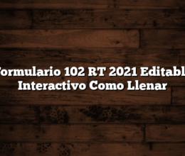 Formulario 102 RT 2021 Editable Interactivo  Como Llenar