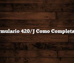 Formulario 420/J Como Completarlo