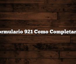 Formulario 921 Como Completarlo