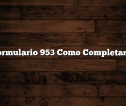 Formulario 953 Como Completarlo