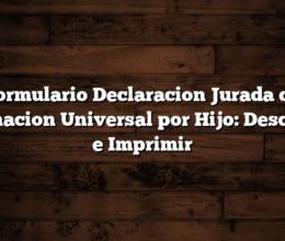 Formulario Declaracion Jurada de Asignacion Universal por Hijo: Descargar e Imprimir