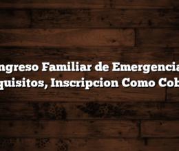 Ingreso Familiar de Emergencia: Requisitos, Inscripcion  Como Cobrar